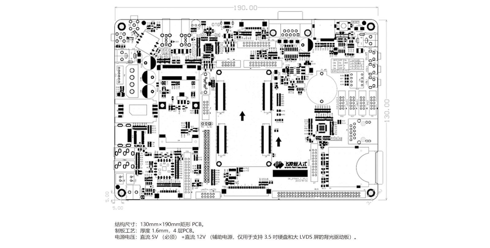 i.MX6Q配套diban尺寸图